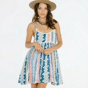RAGA Tie Dye Flamingo Beachy Boho Flouncy Dress